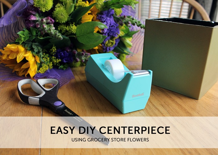 Easy DIY Centerpiece using Grocery Store Flowers