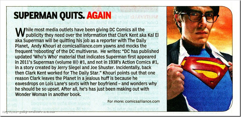 Times Of India Daily Chennai Edition Page No 13 Dated Sunday 28th Oct 2012 Superman Quits Again