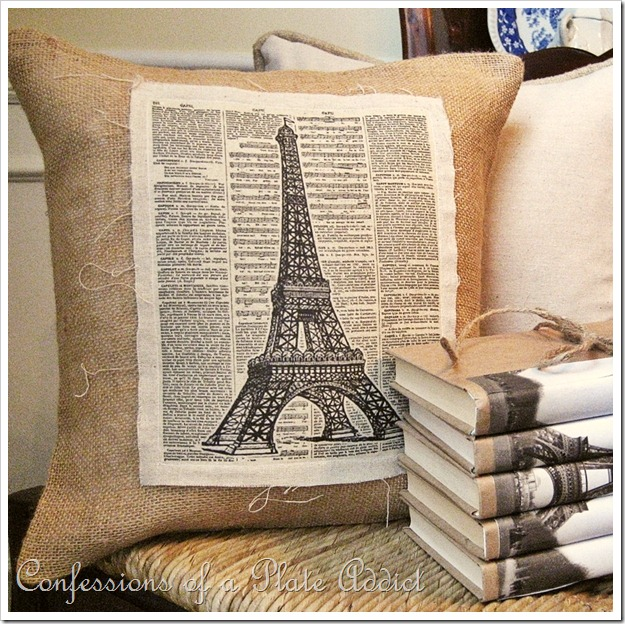 CONFESSIONS OF A PLATE ADDICT Vintage Eiffel Tower Pillow