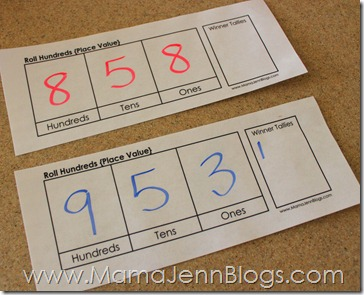 Roll Hundreds: Printable Place Value Game