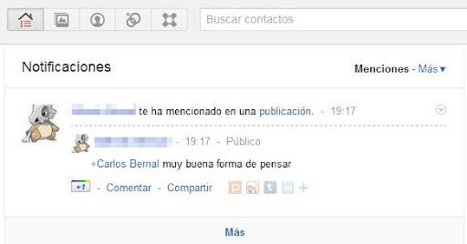 menciones nuestras en Google+ plus