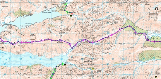 TGO Challenge 2012- DAY 2 MAP