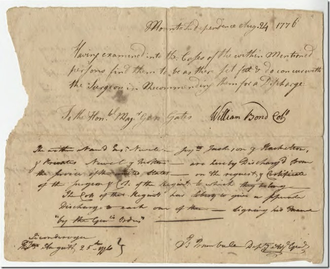 List of Discharged Soldiers Due to Illness during Revolutionary War Pg 2