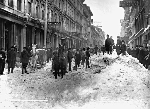 Clearing snow, Notre Dame Street, Montreal, QC