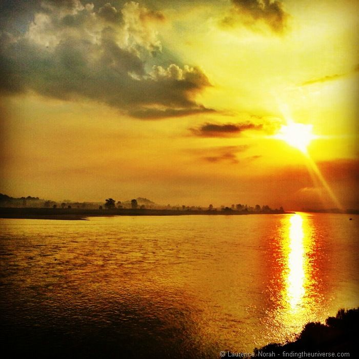 Sunset across Mekong river Golden Triangle Thailand