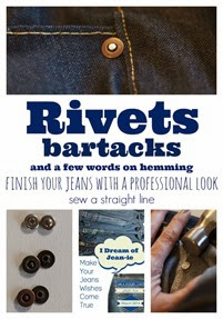 rivets and hemming jeans sew a straight line