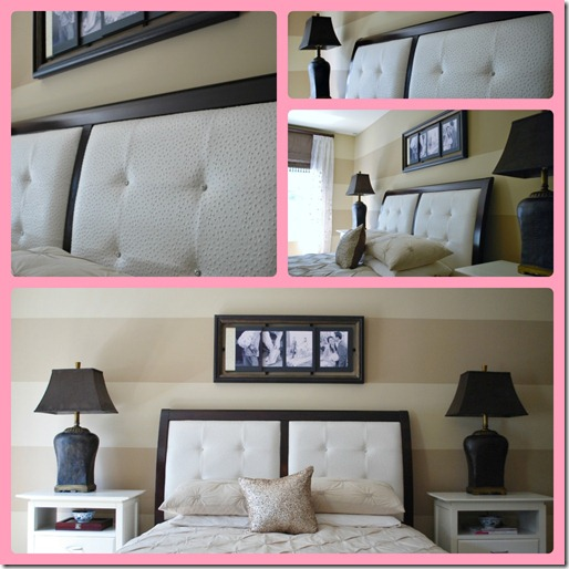 I Ve Been On A Mission To Glam Up The Bedroom Little And Dark Brown Leather Headboard Had Go Inserts Were Reupholstered With Faux Emu