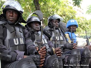 Des casques bleus de la Mission de l'ONU pour la stabilisation en RD Congo (Monusco). Radio Okapi/ Ph. John Bompengo