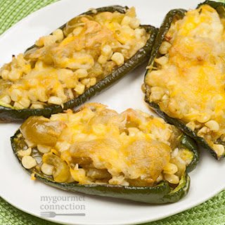 Tomatillo And Corn Stuffed Poblano Peppers