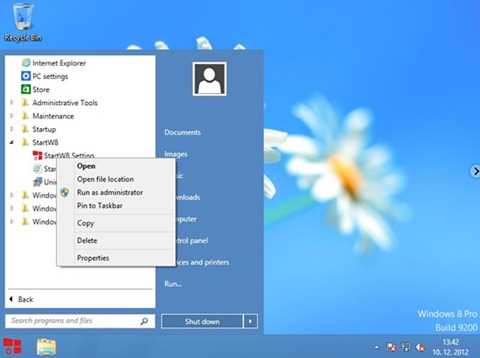 Menu inicio en Windows 8