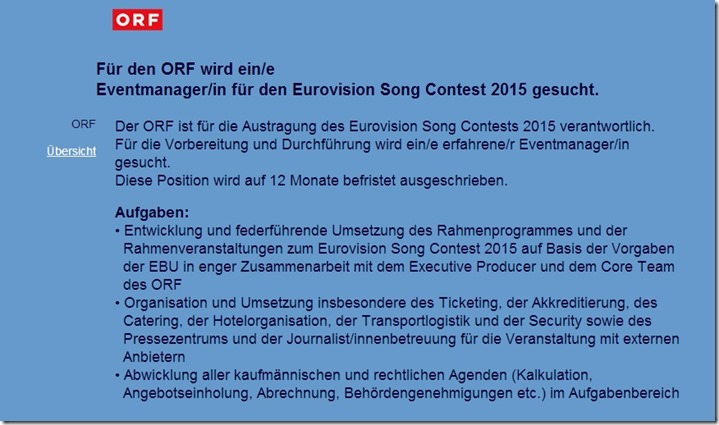 ORF Stellenangebot Songcontest2