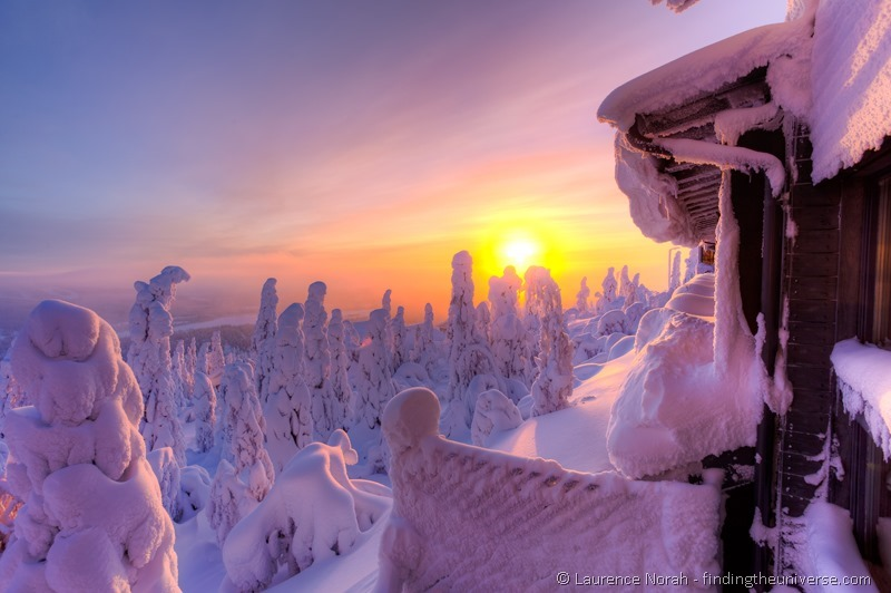 Sunrise from Iso Syote hotel finland