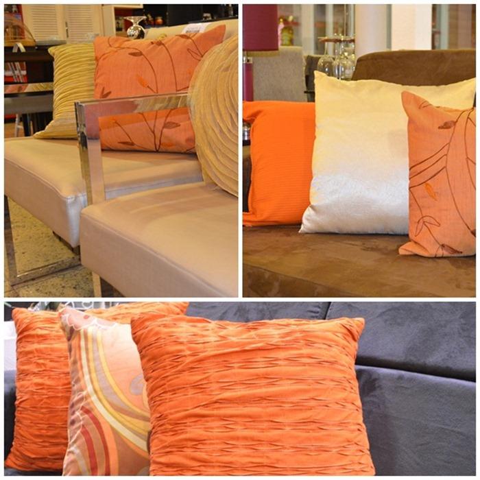 almofadas cor-de-laranja