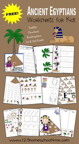FREE printable preschool worksheets to help toddler, preschool, kindergarten, and 1st grade kids practice alphabet and math with a fun Egypt theme.