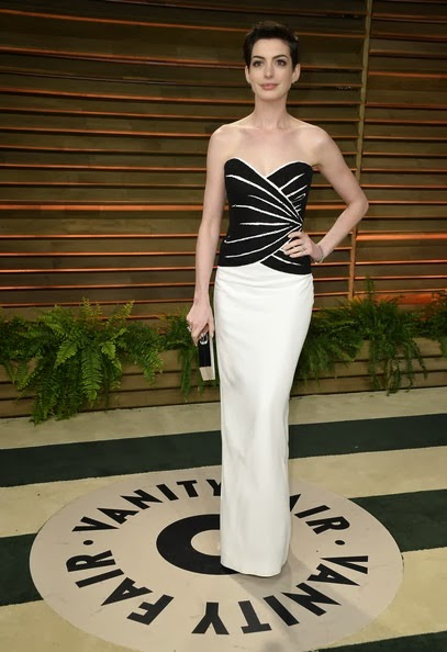 Anne Hathaway attends the 2014 Vanity Fair Oscar Party