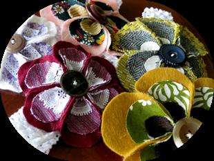 Felt Flower Headbands with Vintage Fabric