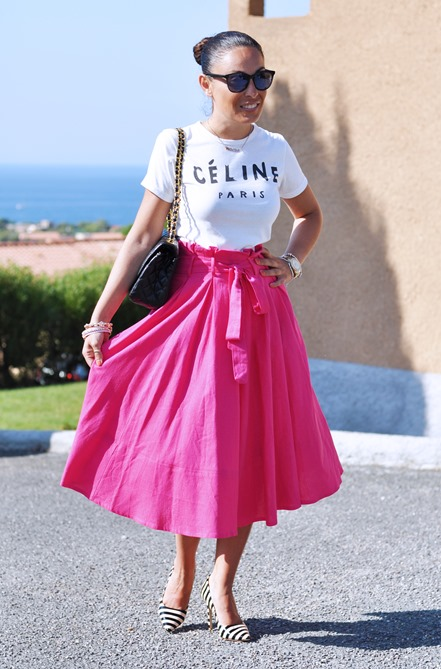 outfit, corsica, gonna rosa a ruota, bianco e nero, fashion show, fashion blog, RED CARPET, STYLE,  fashion blogger, street style, zagufashion, blog italiano, valentina coco