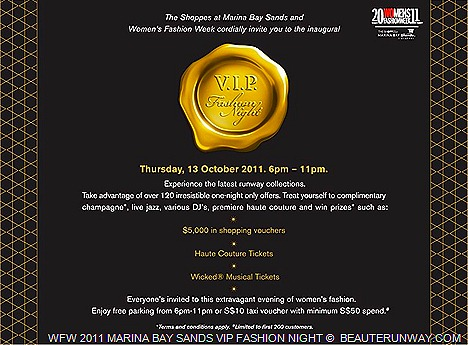 Marina Bay Sands VIP Fashion Night with Singapore Womens Fashion Wek 2011