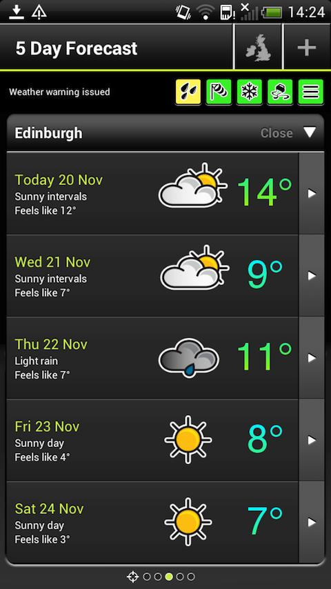 Met Office Weather Application - screenshot