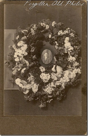 Funeral Wreath with photo Cabinet Card Solway