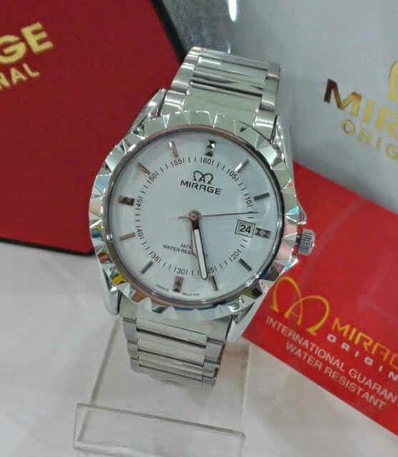 Jam Tangan Mirage original silver dalam putih