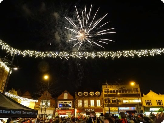 Fireworks over Crewe Town Square
