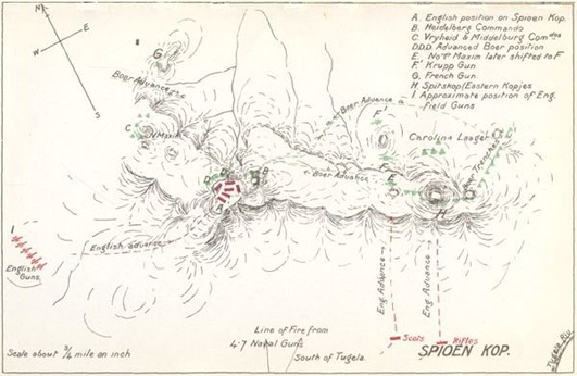 "Map of Spion Kop and surrounding hills. Points A & B are on Spion Kop, from the book, ""My Reminiscences of the Anglo-Boer War"" by General Ben Viljoen, pubished in 1902"