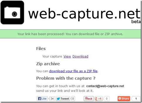 Web-capture salvare screenshot catturato