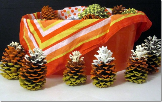 Candy Corn Painted Pinecones