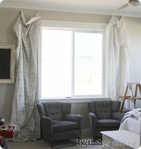 white or patterned curtains