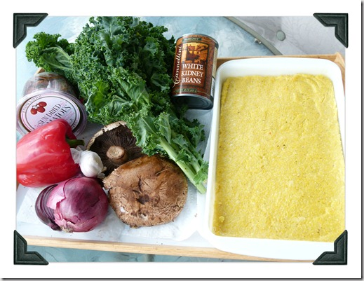 polenta and raw veggies