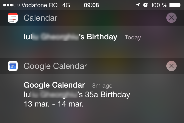 Google Calendar for iOS birthday notification