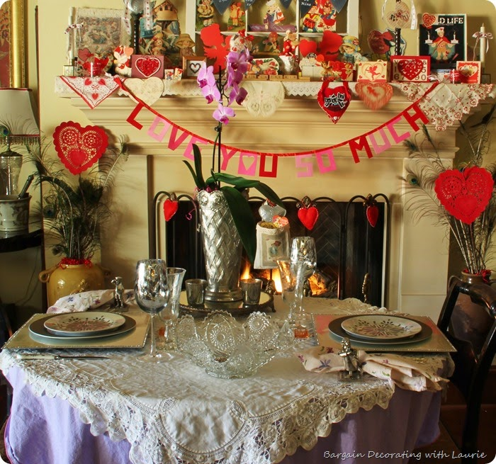 Valentines Tablescape-Bargain Decorating with Laurie