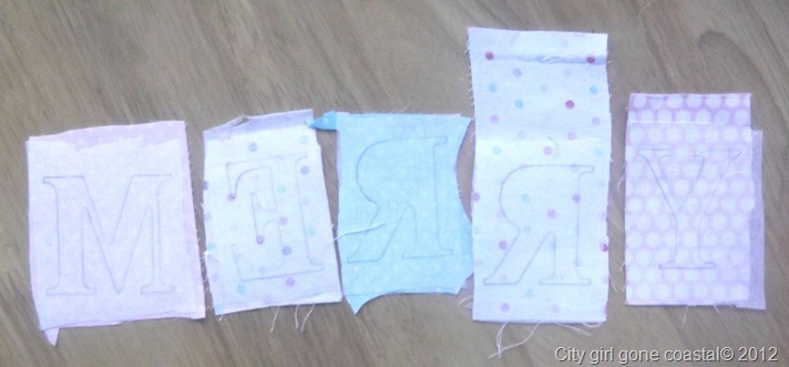 letters ironed onto fabric