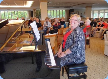 Barbara McNab did something different and played the grand piano rather than her keyboard. Very nice Barbara! Photo courtesy of Dennis Lyons