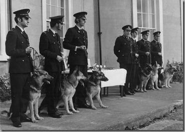Annual photo 1972. <br />L to R - PC's Greener, Wood, Simpson. Chief Constable Puckering and PC's Hedges, Turner and Leng