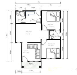 contoh gambar denah rumah minimalis sederhana