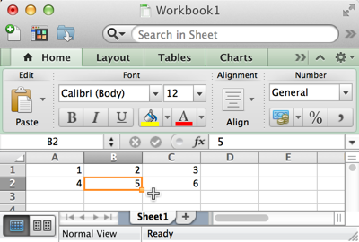 Excel Workbook with a single Sheet and value 5 in cell B2