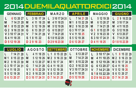 calendario tascabile 2013 da
