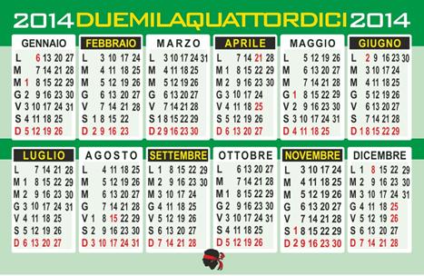 calendario tascabile 2013 da