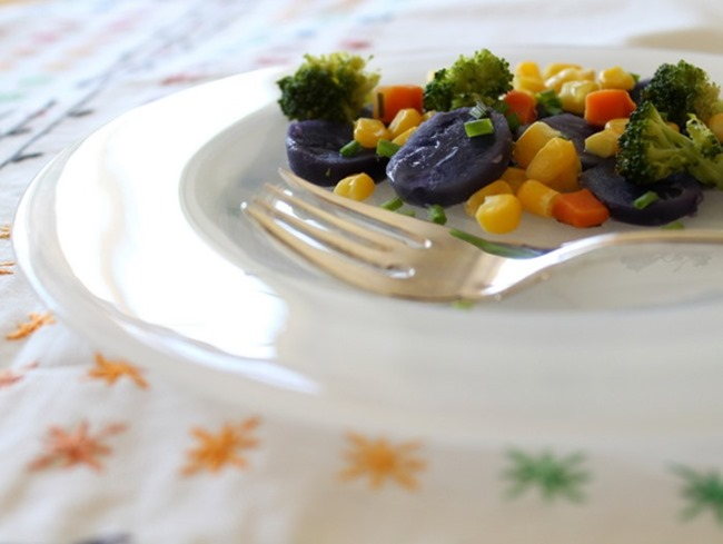 Purple Potato Vegetable Medley via homework - carolynshomework