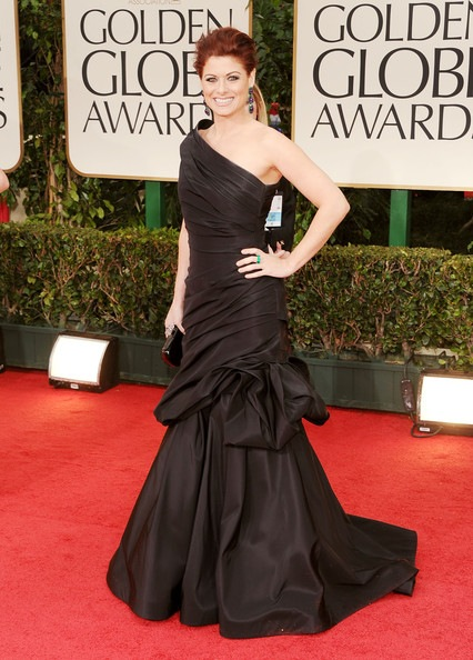 Debra Messing arrives at the 69th Annual Golden Globe Awards