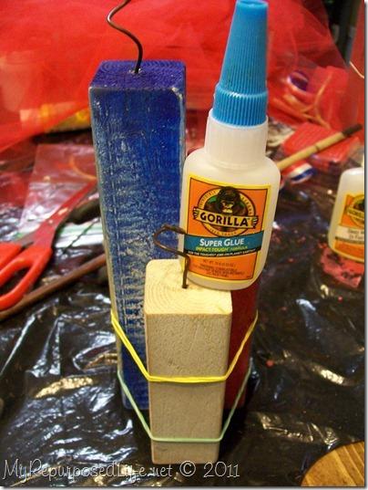 gorilla glue super glue and rubber bands to clamp