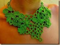 crochet necklace green