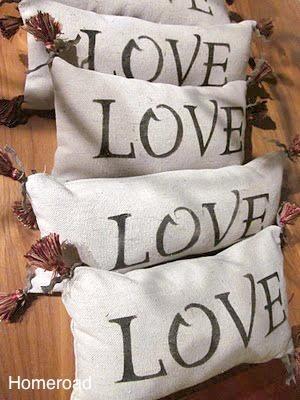 drop cloth stencile LOVE pillows