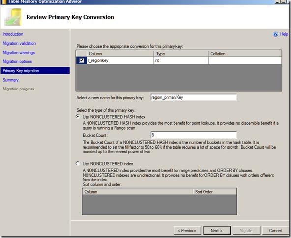 SQL2014: In Memory OLTP (6): Memory optimization advisor and