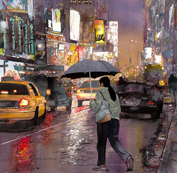 "Times Square Umbrellas II 24.75""x24.25"""
