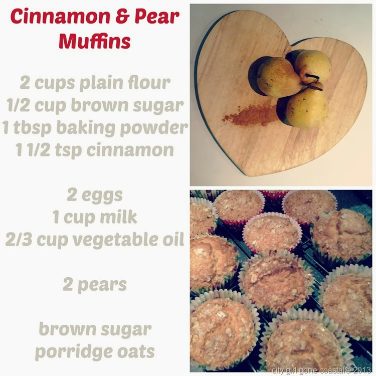 ingrediants for cinnamon and pear muffins