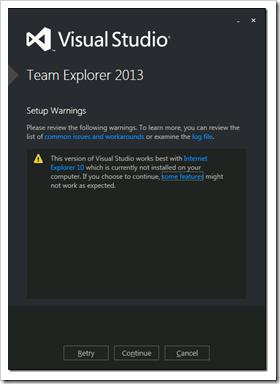 Visual Studio / Team Explorer 2013 no longer requires IE10