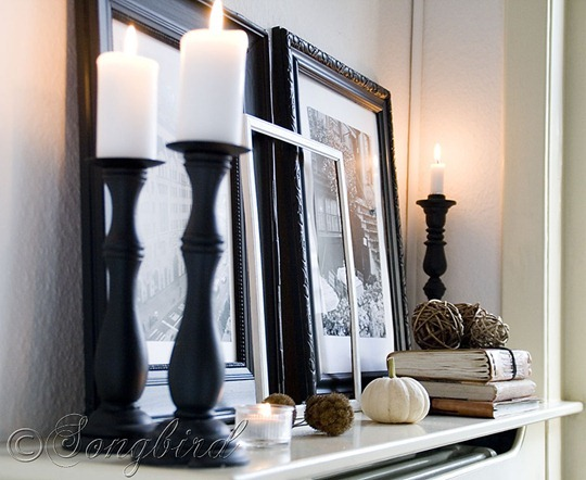 Fall Black and White Mantel 2